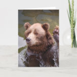 Bathing Brown Bear  Note Card