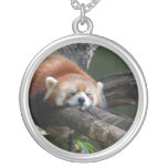Sleeping Red Panda  Sterling Silver Necklace